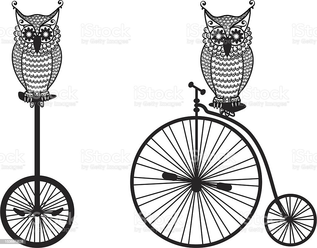 owls with old bicycle vector art illustration