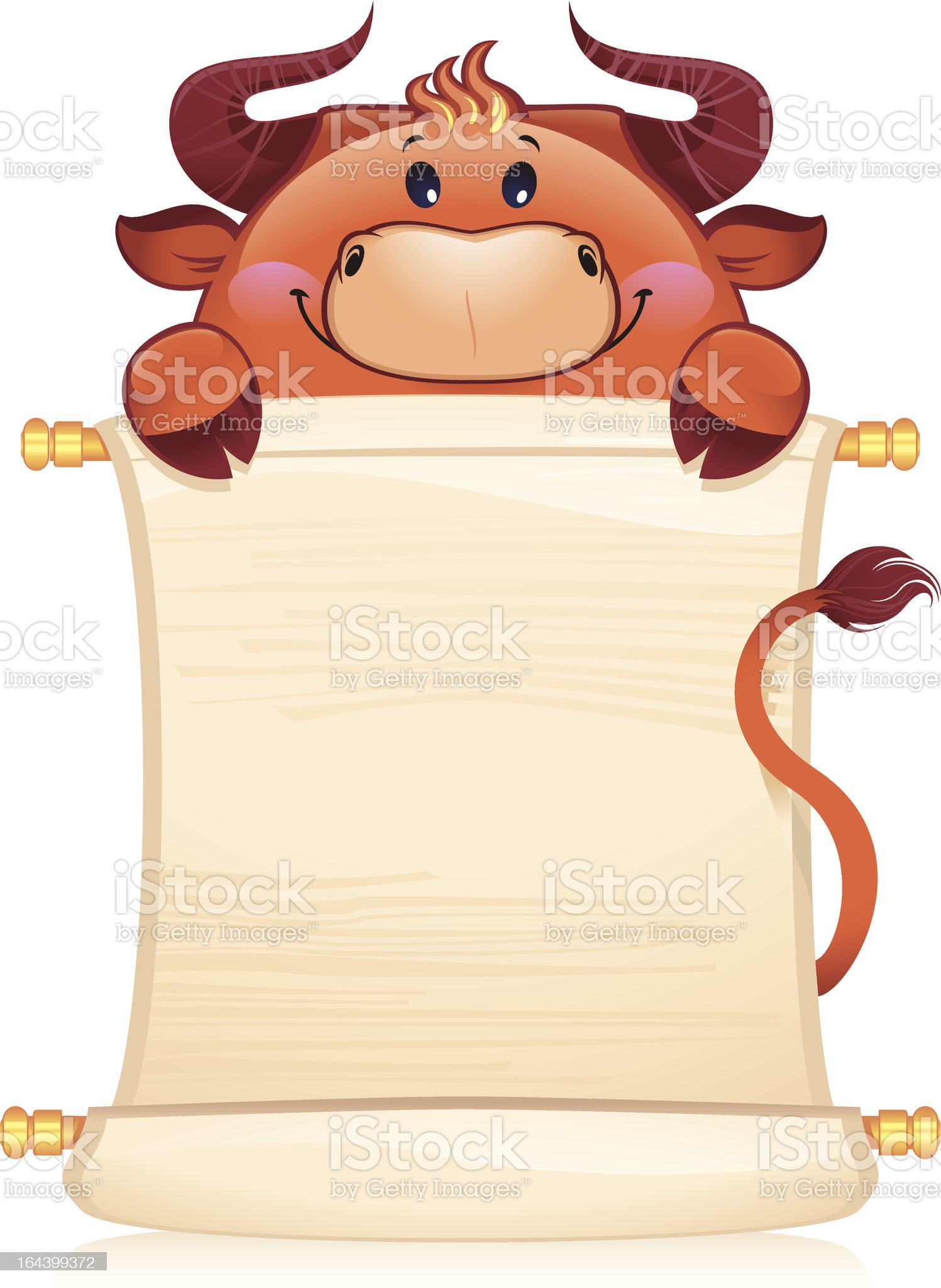 ox with scroll royalty-free stock vector art