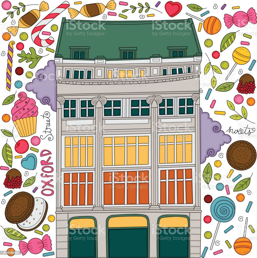 Oxford street vector art illustration