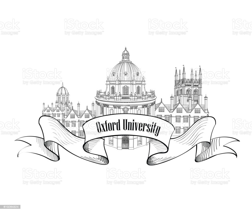 Oxford Univercity label. Oxford city skyline engraved. vector art illustration
