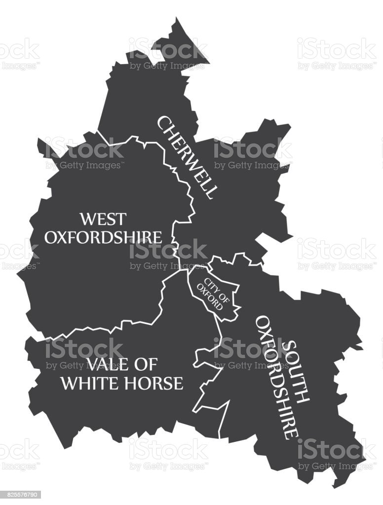 Oxfordshire county England UK black map with white labels illustration vector art illustration