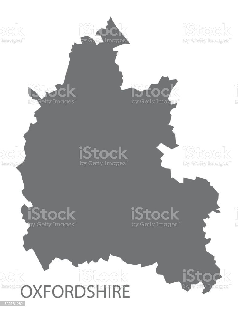 Oxfordshire county map England UK grey illustration silhouette shape vector art illustration