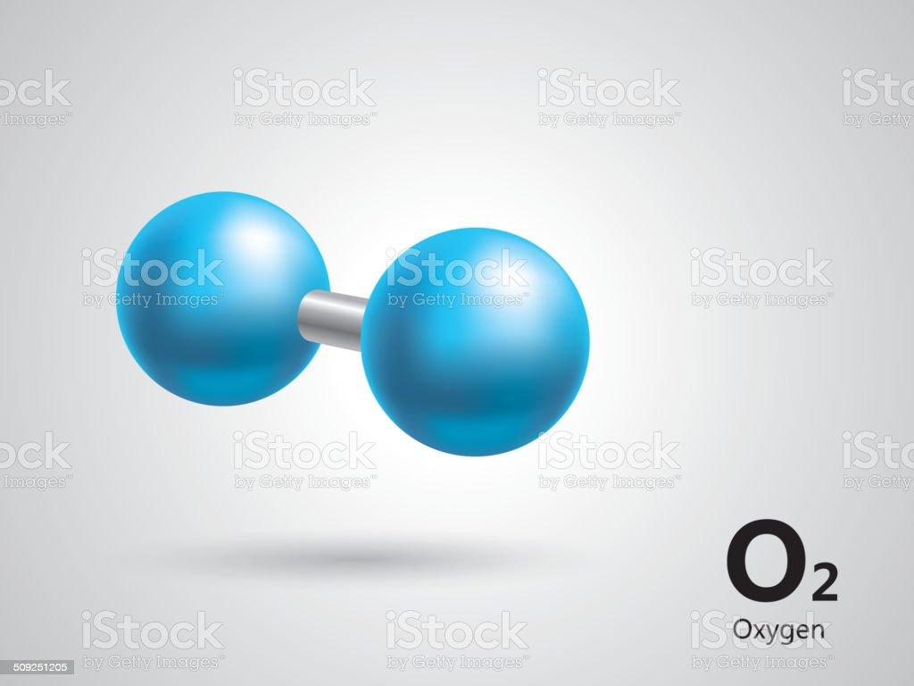 Oxygen molecular model vector art illustration