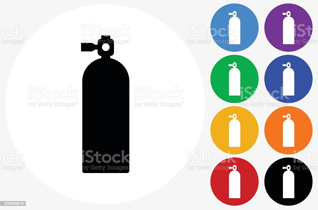 Oxygen Tank Icon on Flat Color Circle Buttons vector art illustration