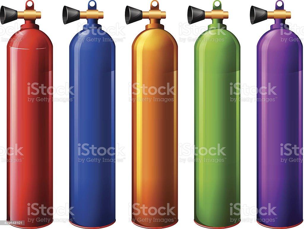 Oxygen tanks vector art illustration