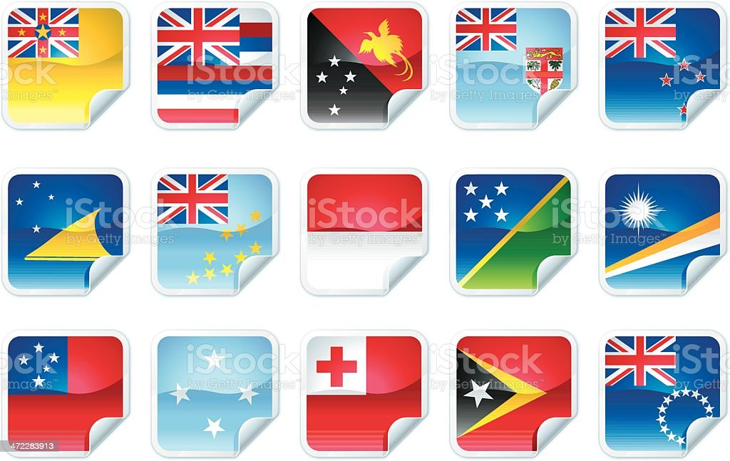 Pacific Island Flags royalty-free stock vector art