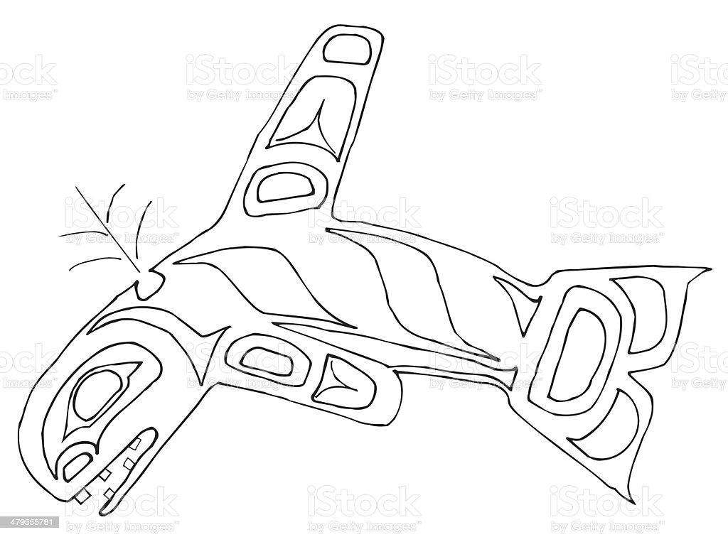 Pacific Northwest orca line drawing royalty-free stock vector art