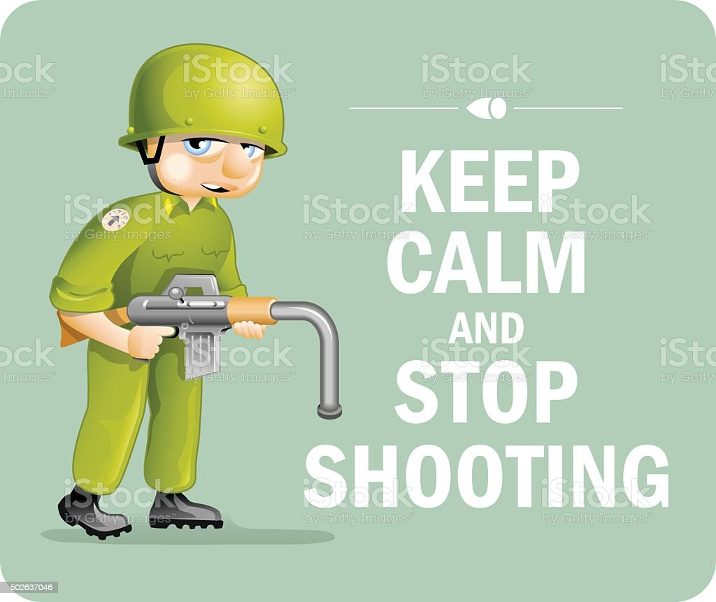 Pacific Poster: 'Keep Calm and Stop Shooting' vector art illustration