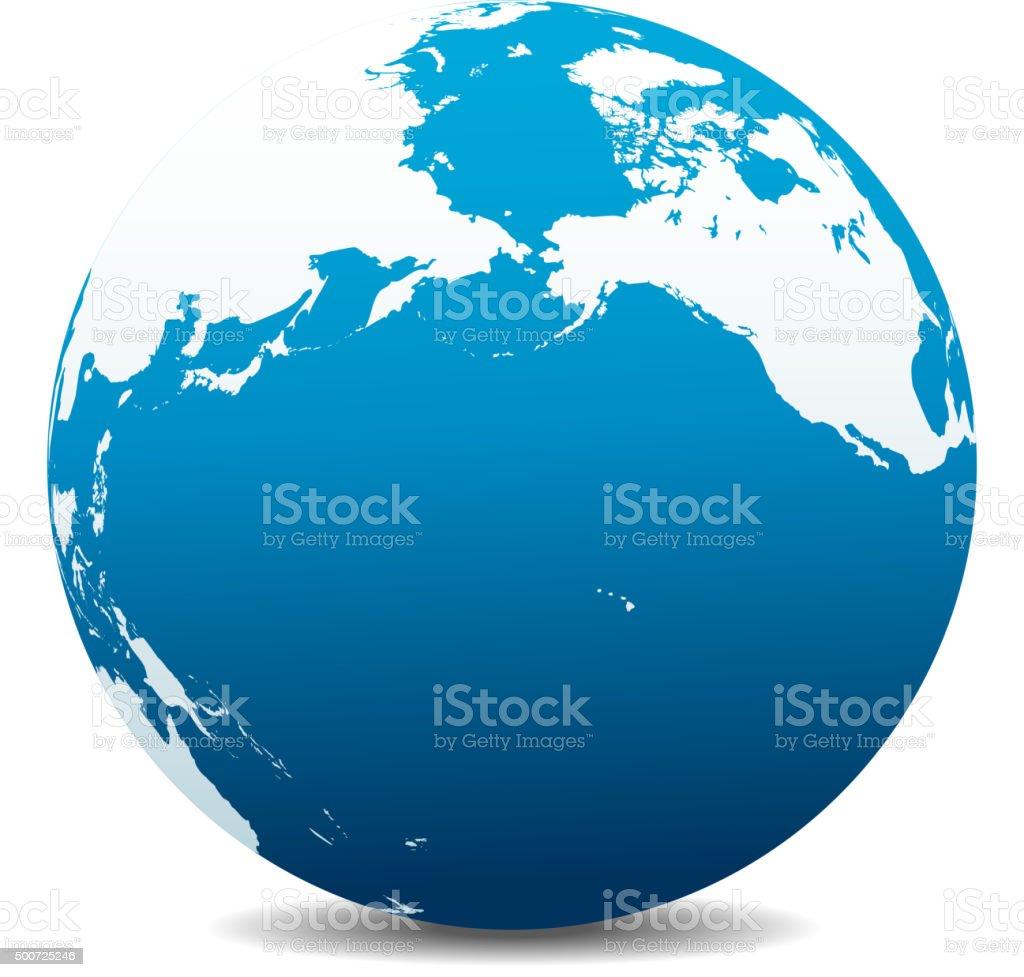 Pacific Rim North America Canada Hawaii Global World Stock Vector - Map usa canada hawaii