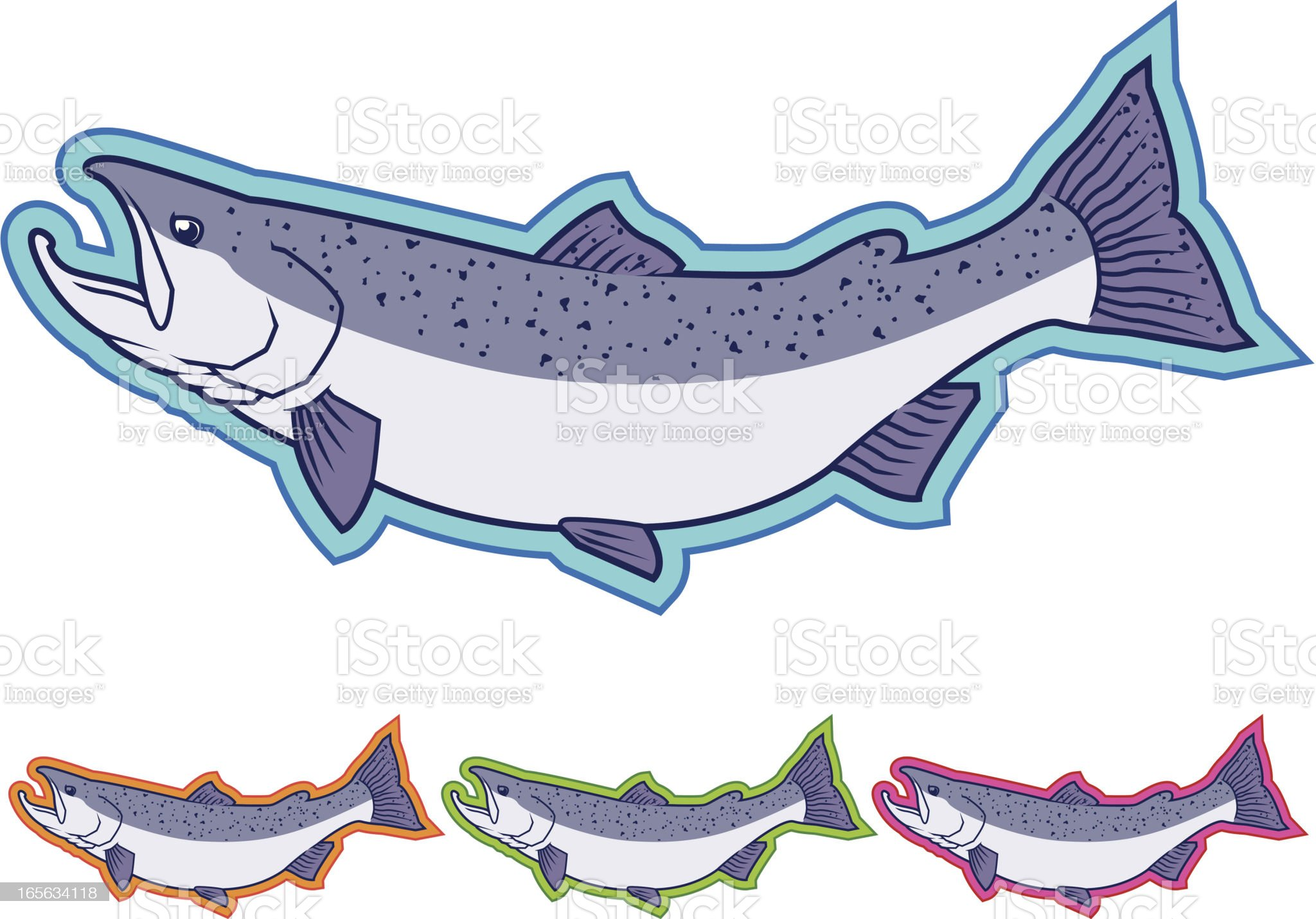 Pacific Salmon Icons - Different Colors royalty-free stock vector art