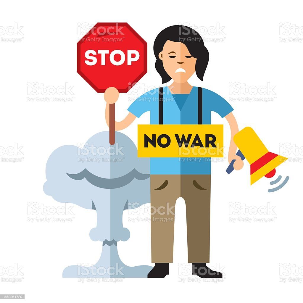 Pacifism. No War. Protest Woman. Flat style colorful Cartoon Illustration. vector art illustration
