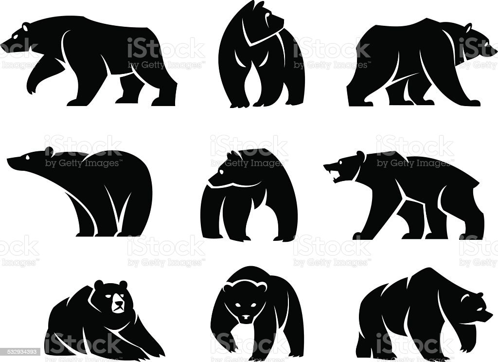 Pack bears vector art illustration