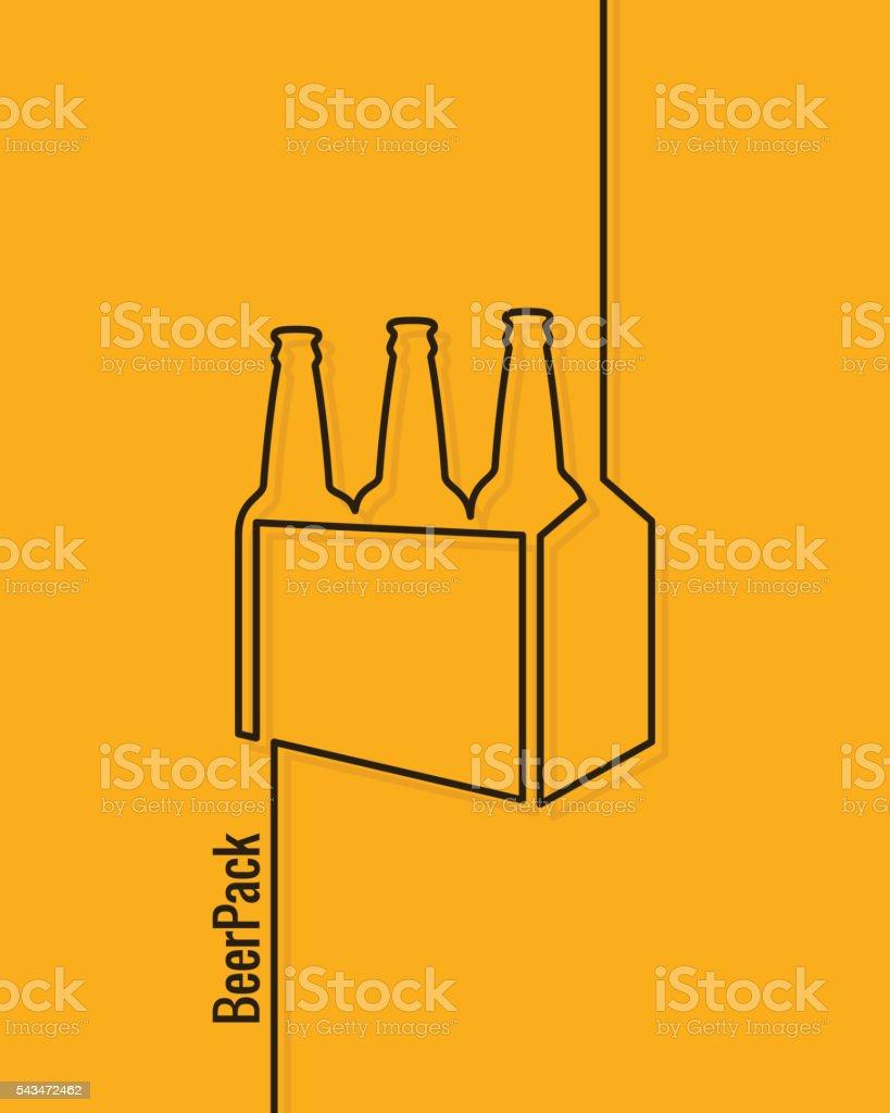 pack of beer bottles concept design background vector art illustration