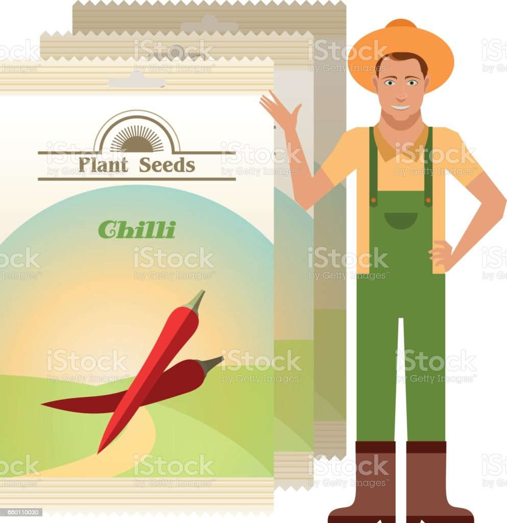 Pack of Chilli seeds icon vector art illustration