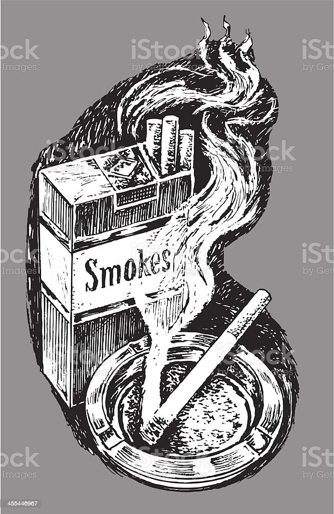 Pack of Cigarettes and Ashtray royalty-free stock vector art