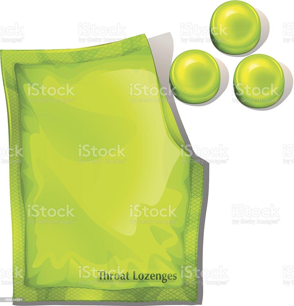 Pack of green throat lozenges vector art illustration