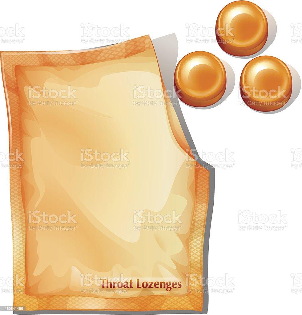 Pack of orange throat lozenges vector art illustration