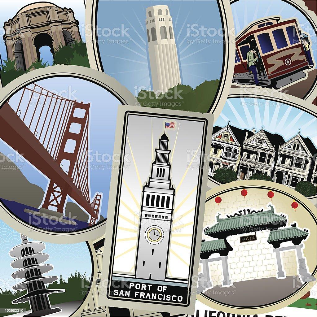 Pack your retro San Francisco Suitcase vector art illustration