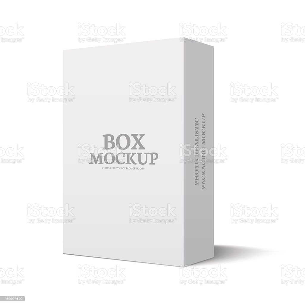 Package box illustration mockup template isolated on white vector art illustration