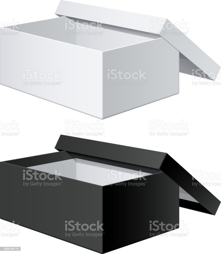 Package Box Opened with the cover removed. vector art illustration