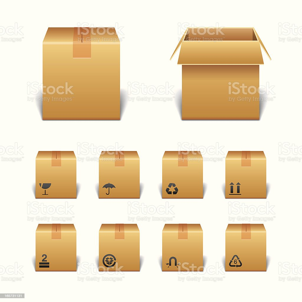 Package Boxes with Icons vector art illustration