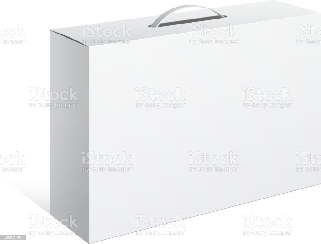 Package Cardboard Box with a handle vector art illustration