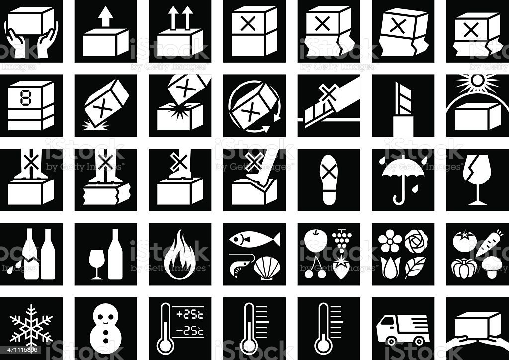 Package Handling Label vector art illustration