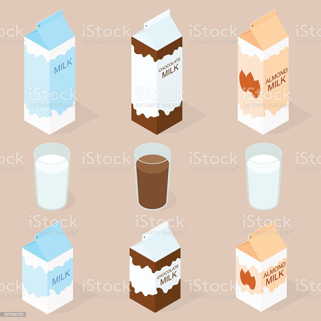 Package of almond milk, chokolate milk and cow milk. vector art illustration
