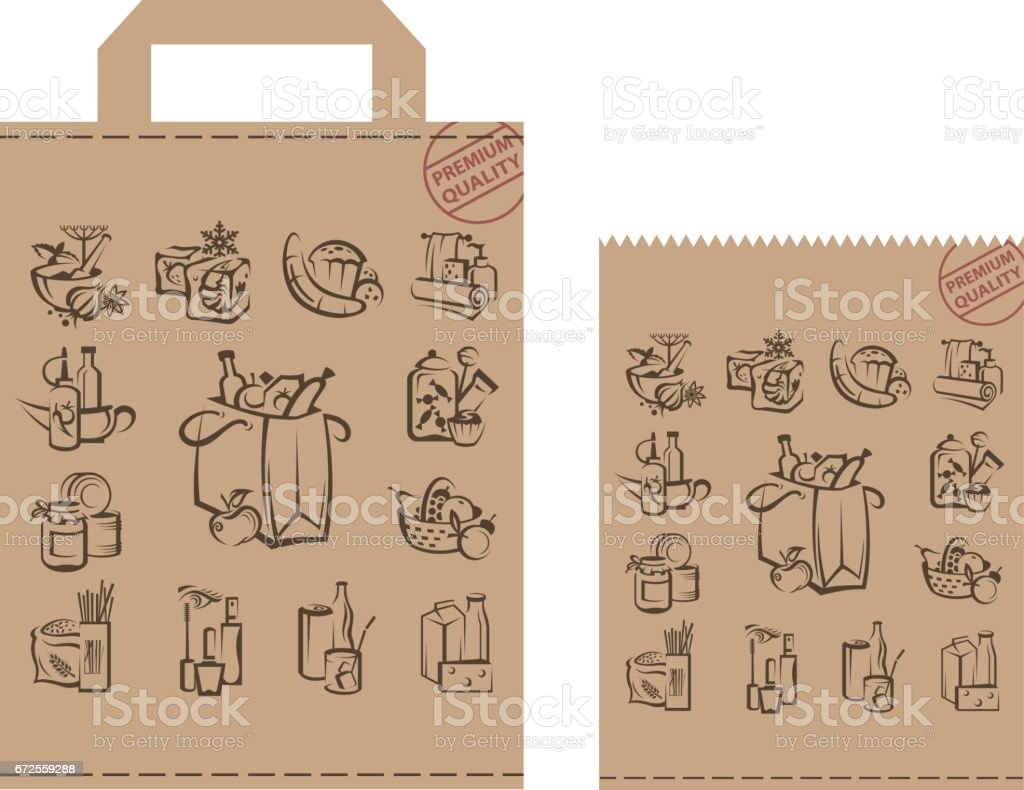 package with food and goods vector art illustration