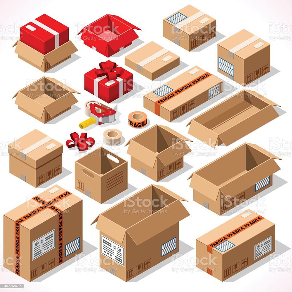 Packaging 01 Objects Isometric vector art illustration