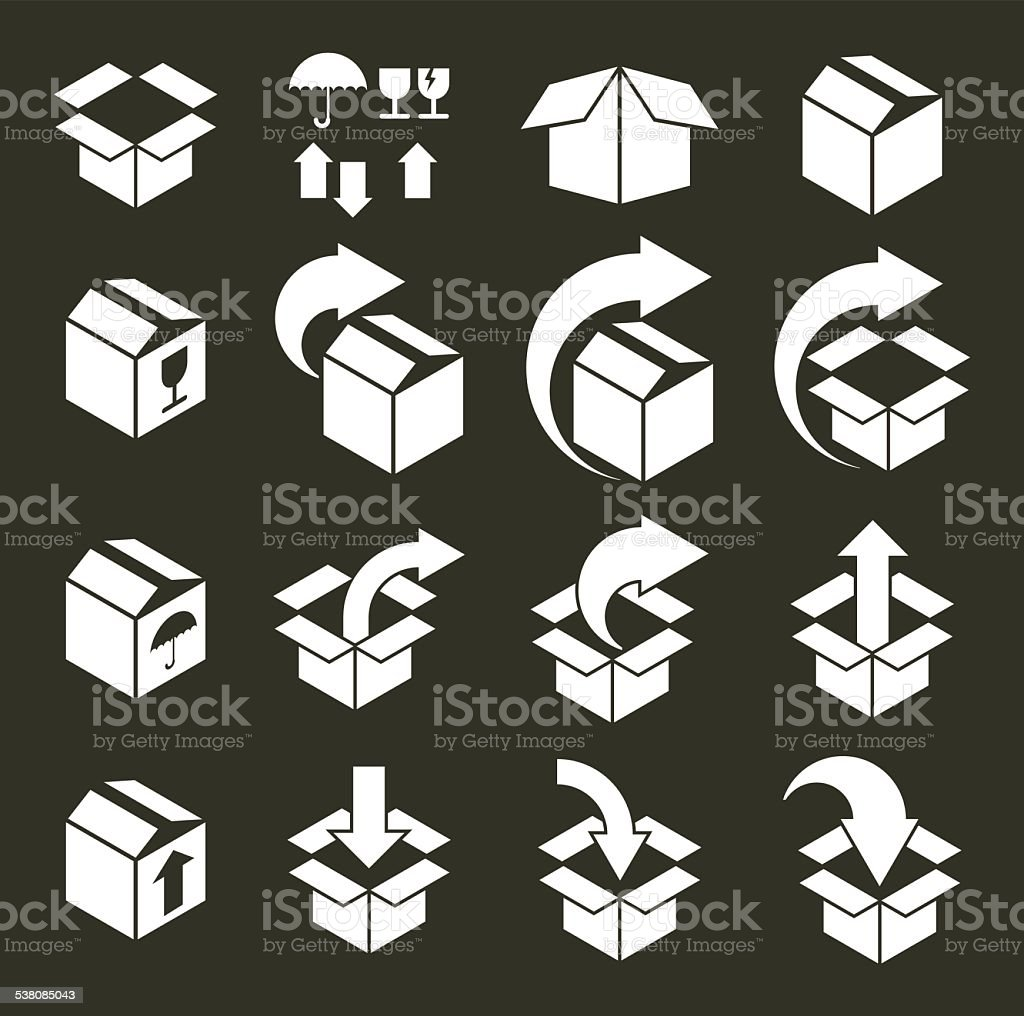 Packaging boxes icons vector set, pack simplistic symbols vector vector art illustration