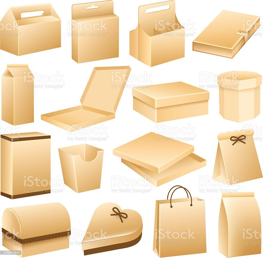 Packaging Boxes, Product Containers, Business vector art illustration