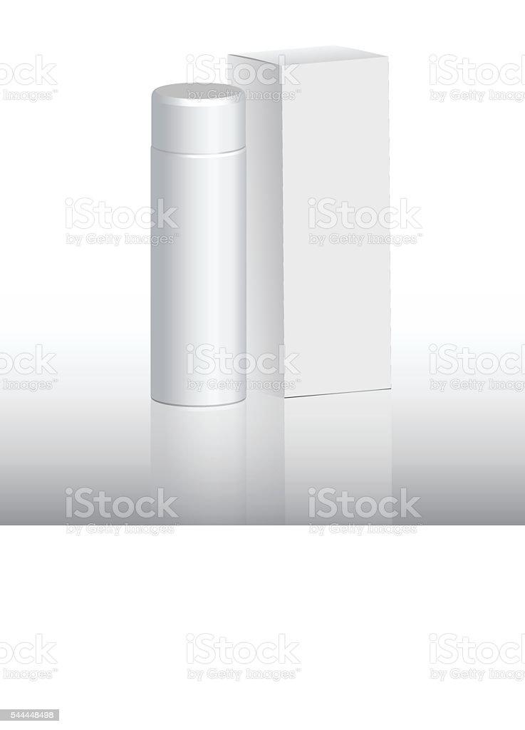 packaging for shampoo, white bottle vector art illustration