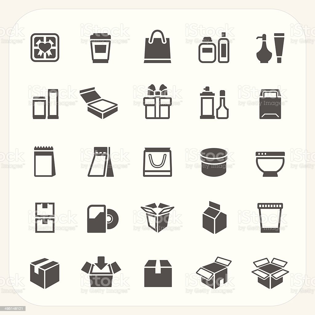 Packaging icons set vector art illustration