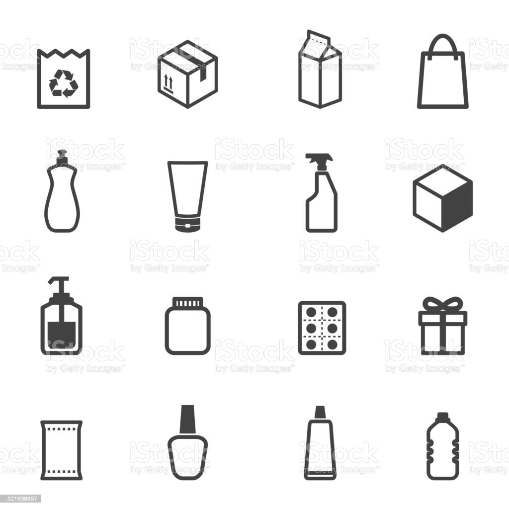 packaging icons vector art illustration