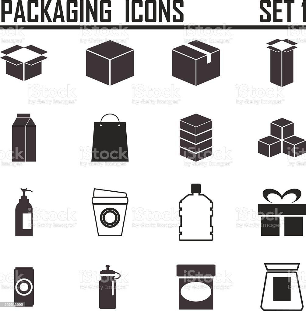 packaging icons vector art illustration