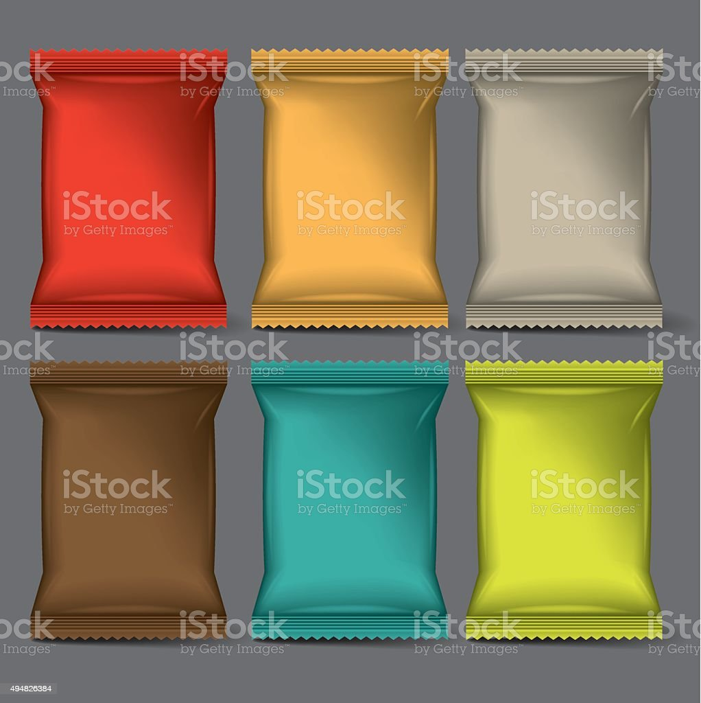 packaging ,set of 6 vector art illustration