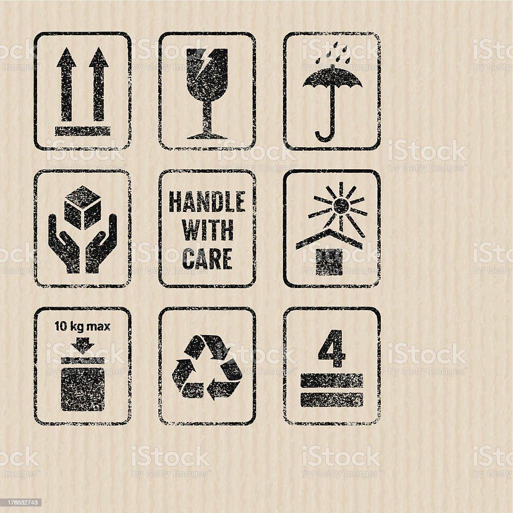 Packaging signs vector art illustration
