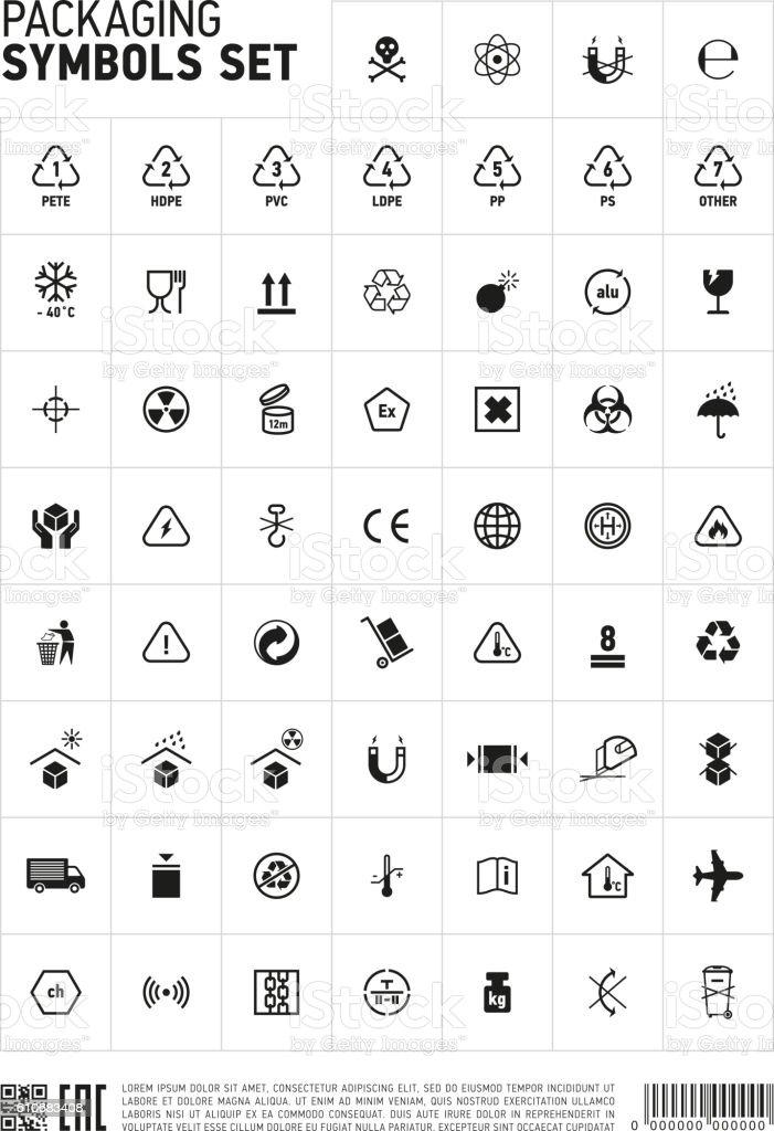 Packaging symbols set icon. vector art illustration