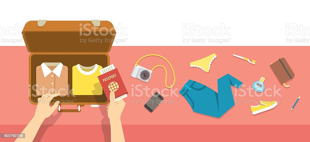 Packing bag for travel vacation flat illustration vector art illustration