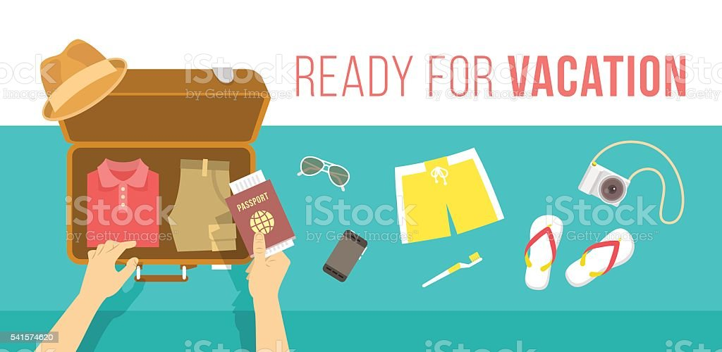Packing clothes for summer vacation vector flat illustration vector art illustration