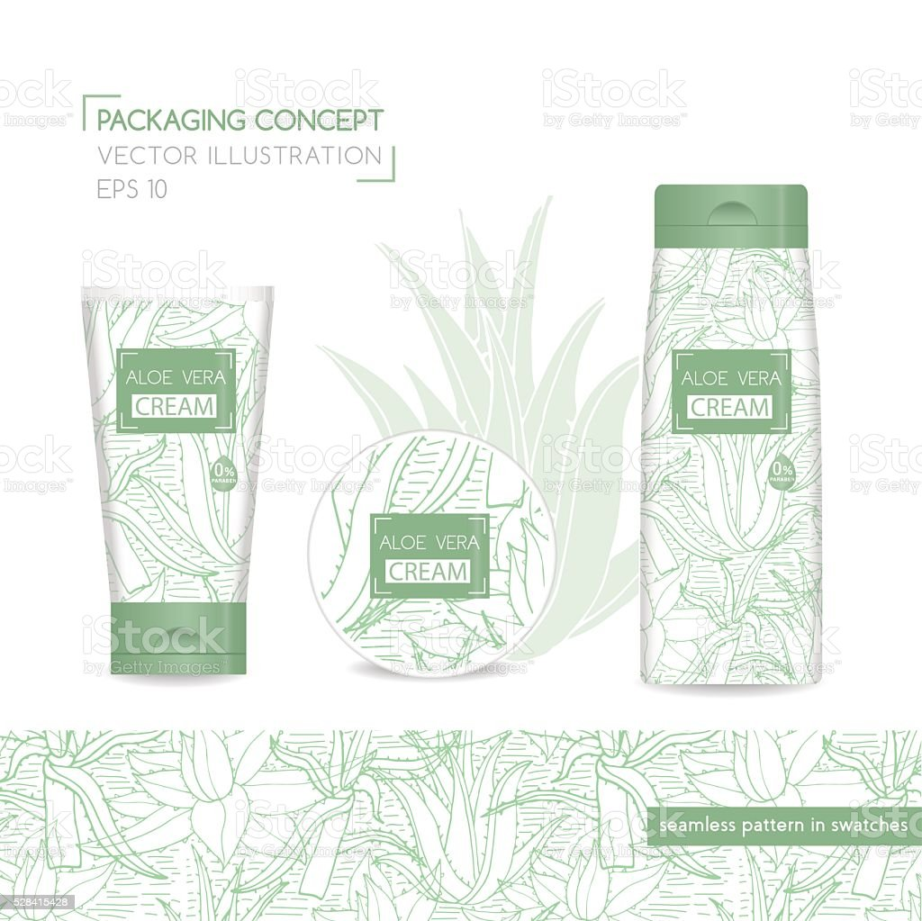 Packing concept with aloe vera. Vector Illustration vector art illustration
