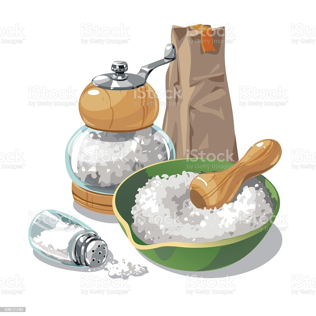 Packing salt and mill vector art illustration