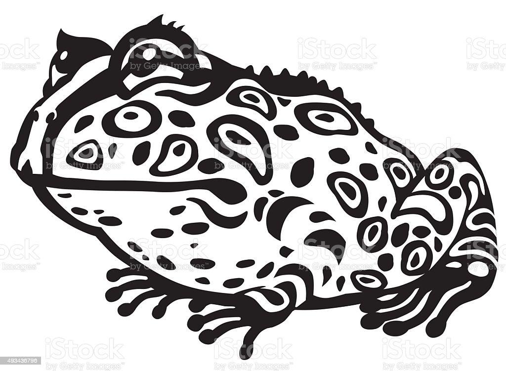 pac-man horned frog black and white vector art illustration