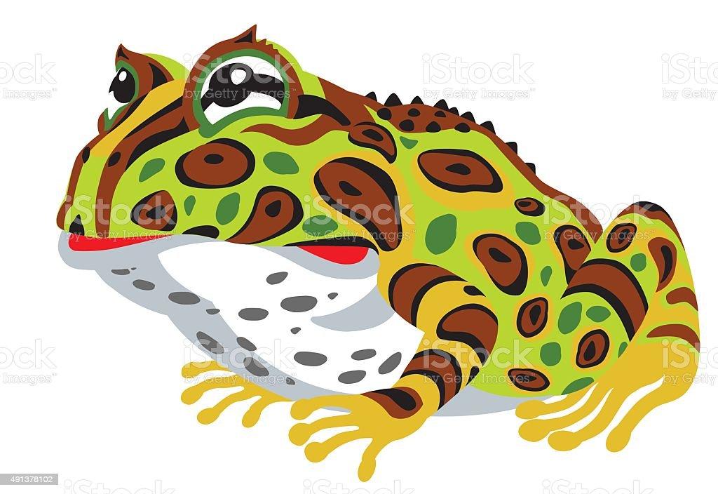 pac-man horned frog vector art illustration