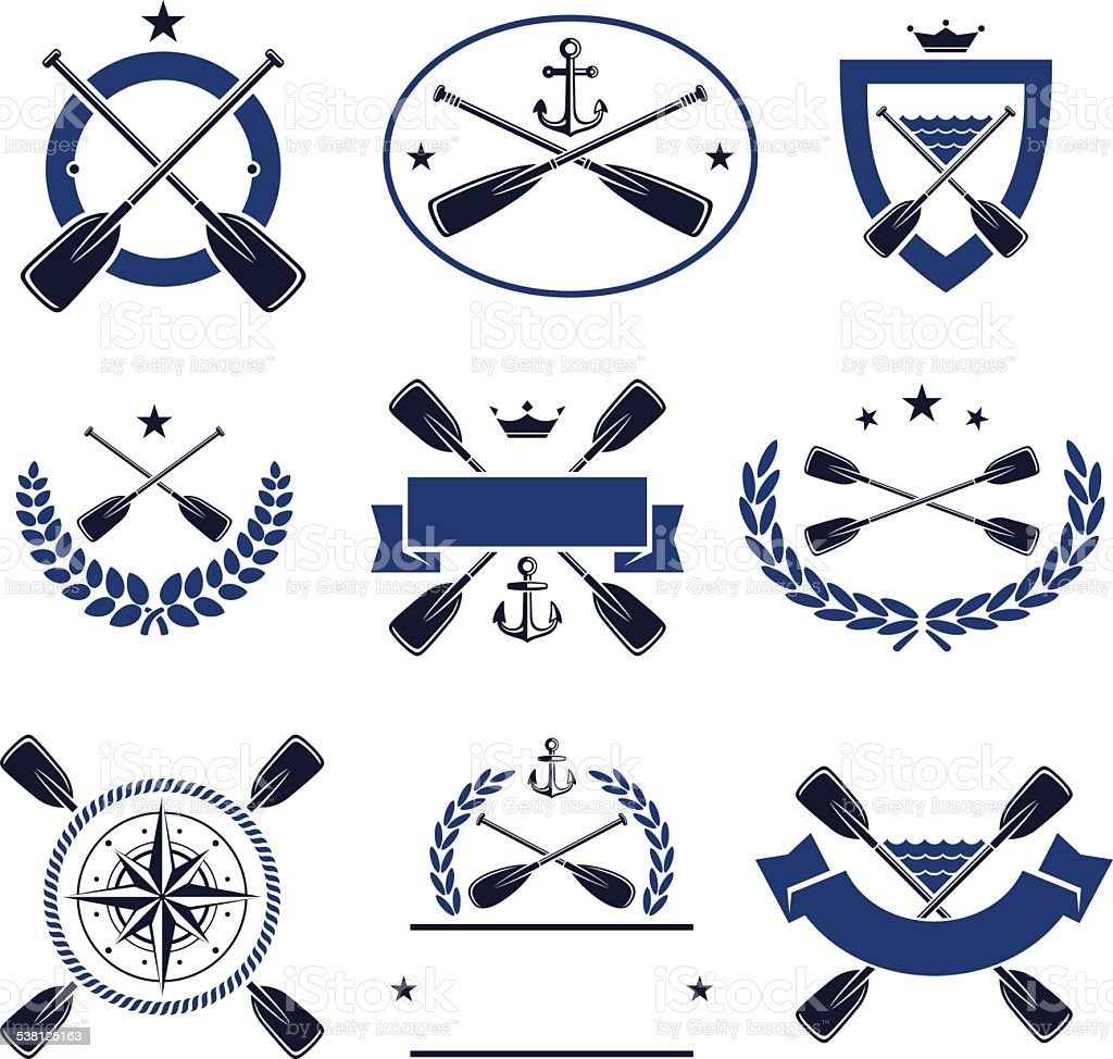 paddle labels and elements set. Vector vector art illustration
