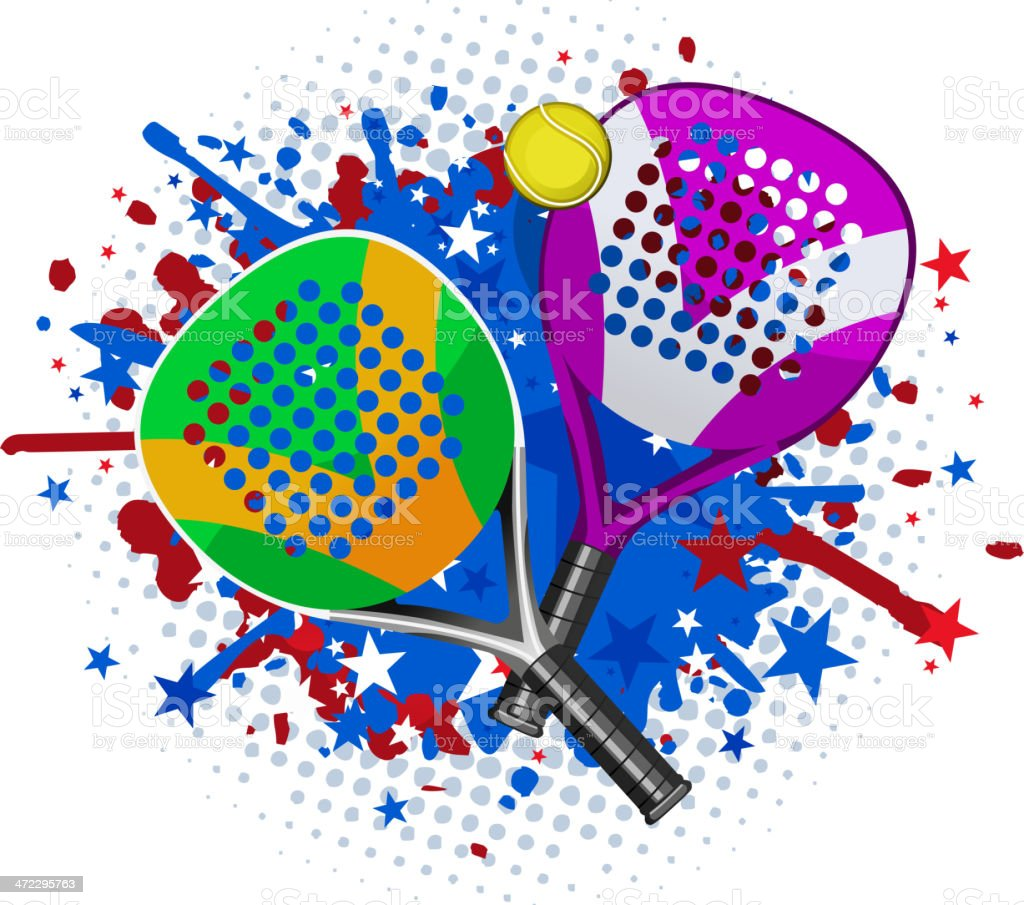 Paddle Match Rackets and Ball Set With red blue splash royalty-free stock vector art