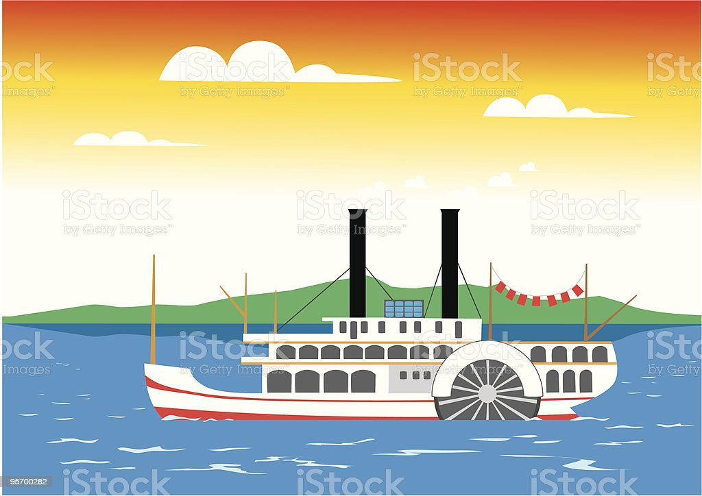 Paddle steamer on the river royalty-free stock vector art