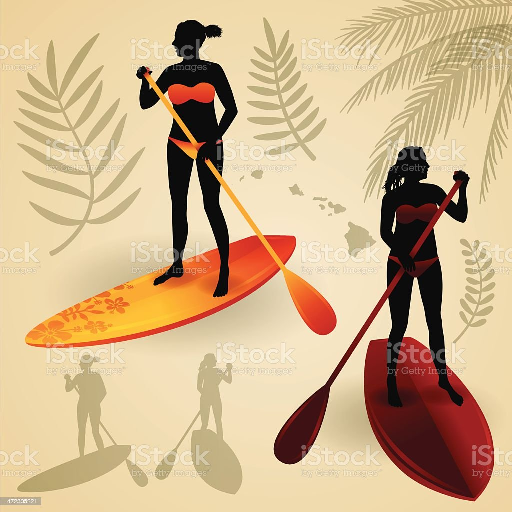 Paddleboarding Girls royalty-free stock vector art