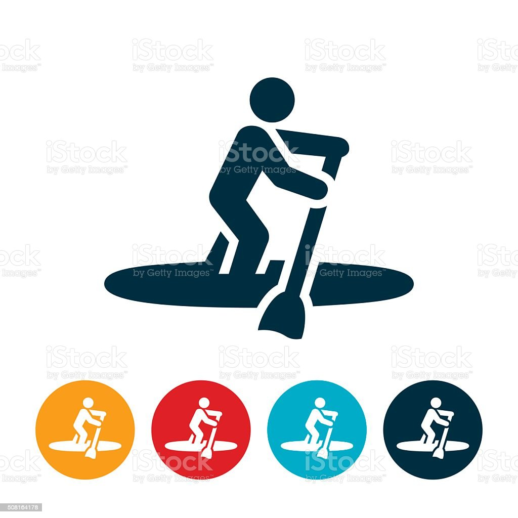 Paddleboarding Icon vector art illustration